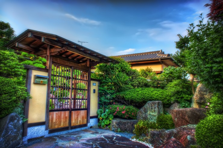 Traditional Gate and Japanese Home Garden